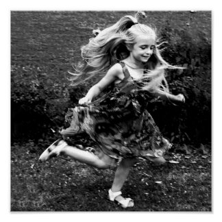 Beautiful Watercolor Twirling Girl Poster