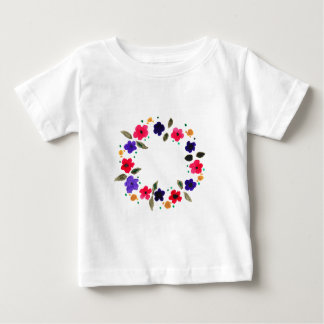 Beautiful watercolor wreath of flowers baby T-Shirt