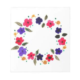 Beautiful watercolor wreath of flowers note pad