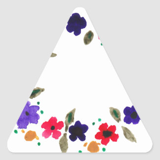 Beautiful watercolor wreath of flowers triangle sticker