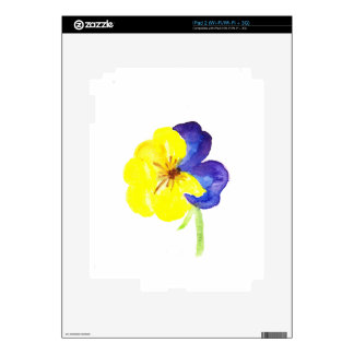 Beautiful watercolor yellow and mauve pansy iPad 2 decals