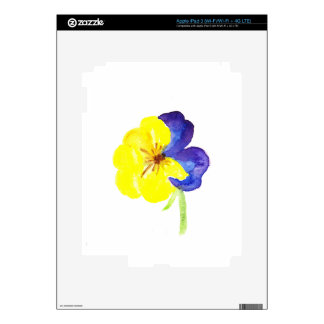 Beautiful watercolor yellow and mauve pansy iPad 3 decals