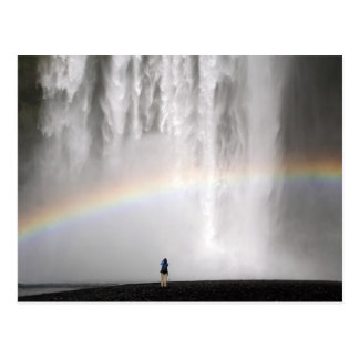 Beautiful waterfall in Iceland with a rainbow Postcard