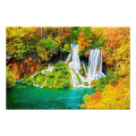 Beautiful Waterfall in the Autumn Forest Photo Print