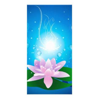 Beautiful waterlilies with glowing light photo card