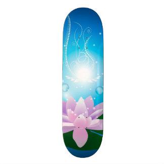 Beautiful waterlilies with glowing light skate board deck