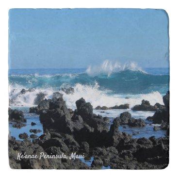 Hawaiian Themed Beautiful Waves in Maui Stone Trivet