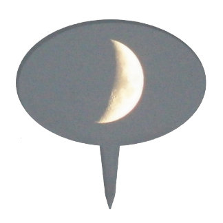 Beautiful Waxing Crescent Moon at Dusk Cake Toppers