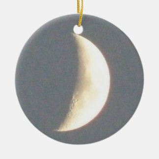 Beautiful Waxing Crescent Moon at Dusk Custom Double-Sided Ceramic Round Christmas Ornament