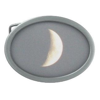 Beautiful Waxing Crescent Moon at Dusk Oval Belt Buckle