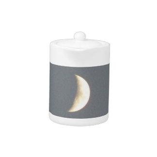Beautiful Waxing Crescent Moon at Dusk Teapot