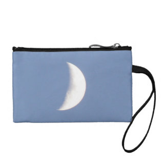 Beautiful Waxing Crescent Moon in Daylight Coin Purses