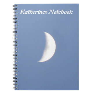 Beautiful Waxing Crescent Moon in Daylight Custom Spiral Notebook