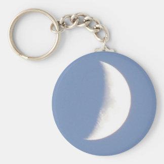 Beautiful Waxing Crescent Moon in Daylight Keychai Keychain
