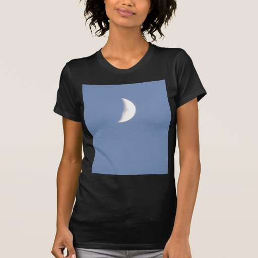 Beautiful Waxing Crescent Moon in Daylight Ladies T-shirt