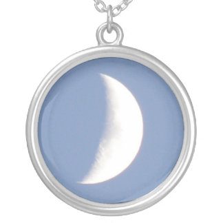 Beautiful Waxing Crescent Moon in Daylight Necklac Round Pendant Necklace