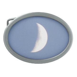 Beautiful Waxing Crescent Moon in Daylight Oval Belt Buckle