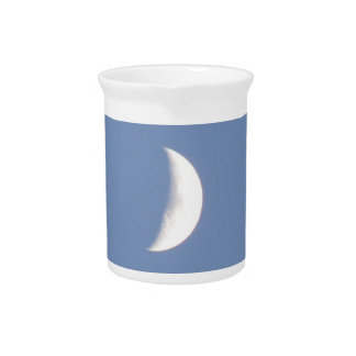 Beautiful Waxing Crescent Moon in Daylight Pitcher