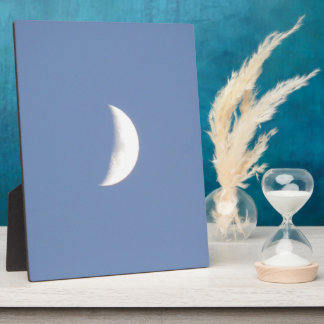 Beautiful Waxing Crescent Moon in Daylight Plaque