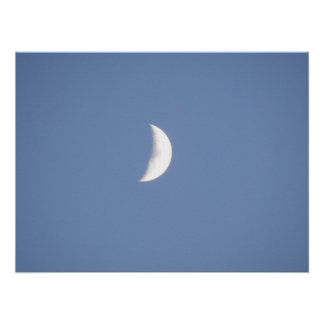 Beautiful Waxing Crescent Moon in Daylight Print