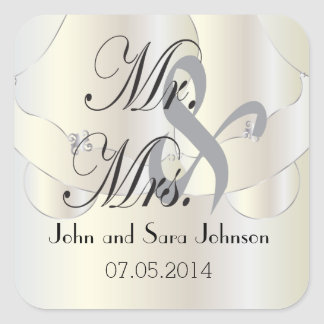 Beautiful Wedding Bells | Personalized Square Sticker