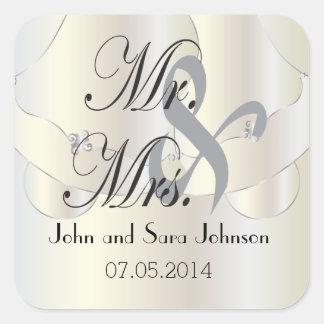 Beautiful Wedding Bells   Personalized Square Sticker