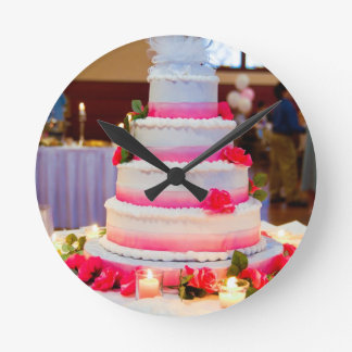Beautiful Wedding Cake Round Clock