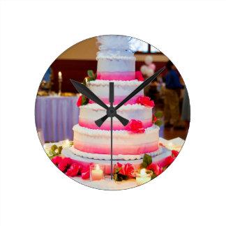 Beautiful Wedding Cake Round Wallclocks