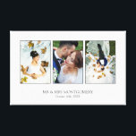 "Beautiful Wedding Photo Collage Canvas Print<br><div class=""desc"">Canvas print with a wedding photo collage with three of your photos inside thin gray frames on a white print. Personalize with three wedding photos,  your names,  and wedding date!</div>"