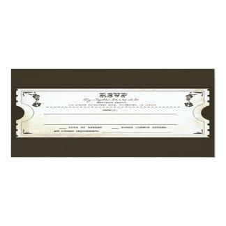 "beautiful wedding vintage ticket RSVP 4"" X 9.25"" Invitation Card"