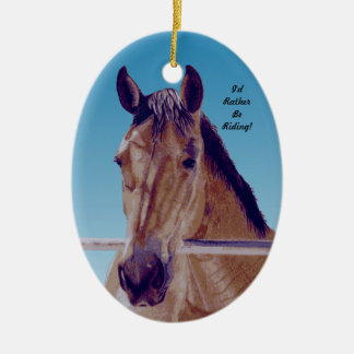 Beautiful Western Horse Double-Sided Oval Ceramic Christmas Ornament