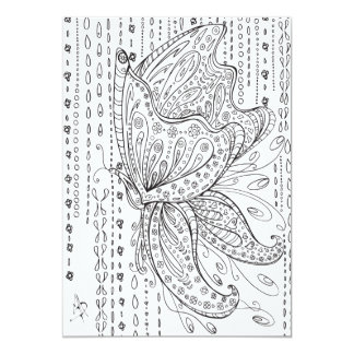 Beautiful Whimsical Butterfly Coloring Card