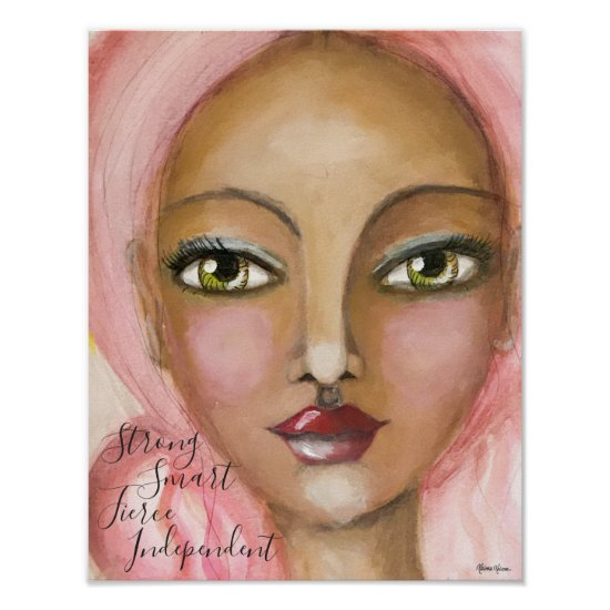 Beautiful Whimsical Girl Painting Pink Hair Cute Poster