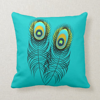 Beautiful Whimsical Peacock Feather Plumage Throw Pillow