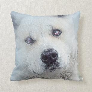 Beautiful White Akita Snow Dog Wolf Throw Pillow