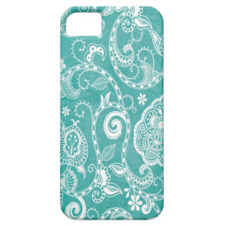 Beautiful white and blue flowers leaves and swirls iPhone SE/5/5s case