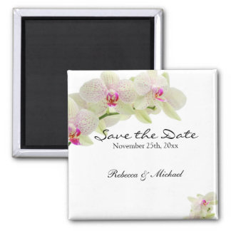 Beautiful White and Hot Pink Orchids Save the Date 2 Inch Square Magnet