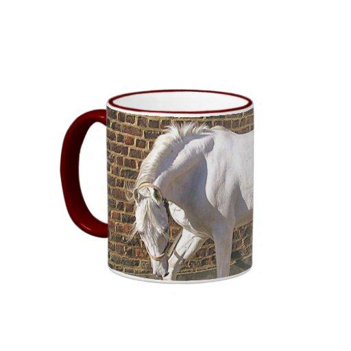 Beautiful White Arabian Horse Ringer Coffee Mug