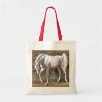 Beautiful White Arabian Horse Tote Bags