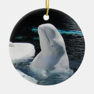 Beautiful White Beluga Whale Holiday Double-Sided Ceramic Round Christmas Ornament
