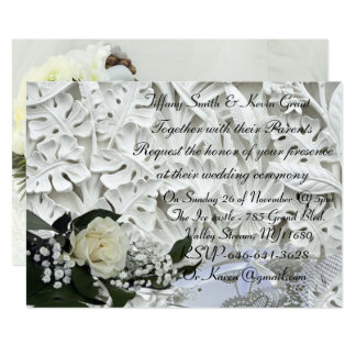 Beautiful white bouquet Wedding Invitation