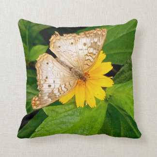 beautiful white butterfly moth yellow flower throw pillow
