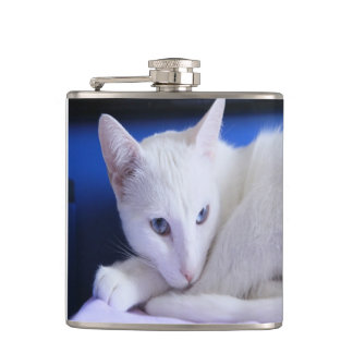 Beautiful White Cat/Add Your Pet's Photo Flask