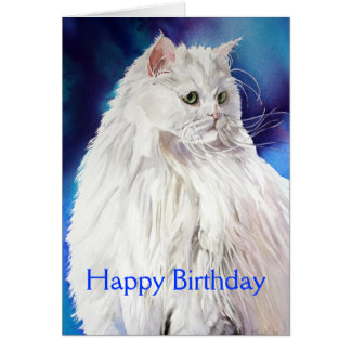 Beautiful White Cat Lover Happy Birthday Greeting Greeting Cards
