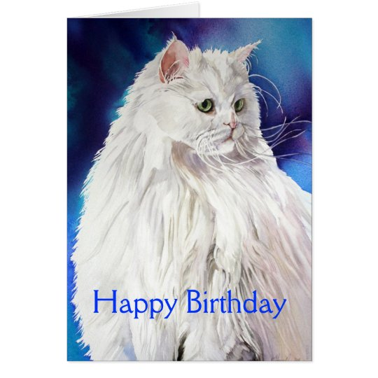 Beautiful White Cat Lover Happy Birthday Greeting Card