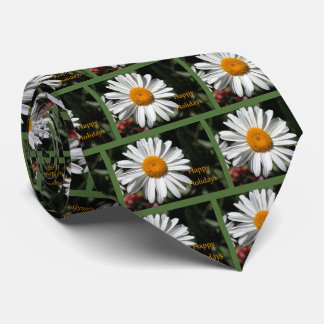Beautiful white daisy flower happy holidays floral tie