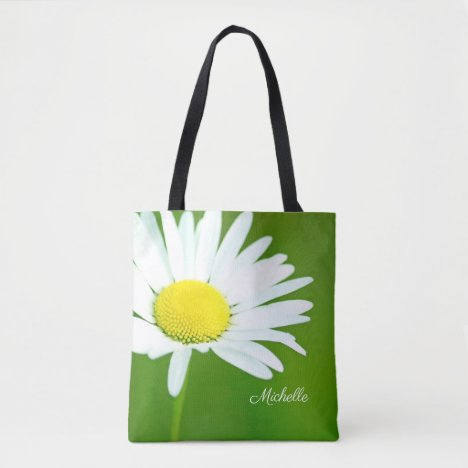 Beautiful White Daisy Personalized Tote Bag
