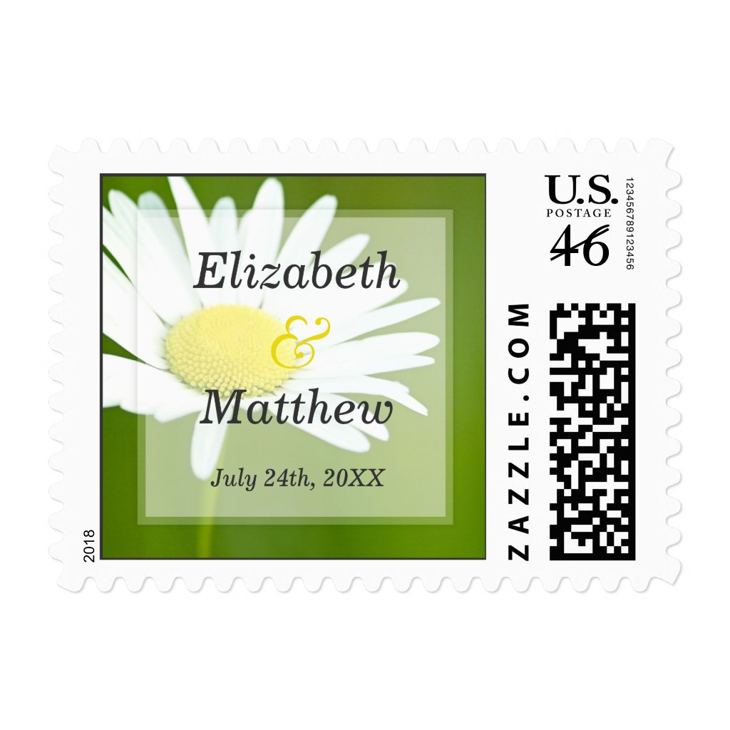 Beautiful White Daisy Wedding Postage Stamps