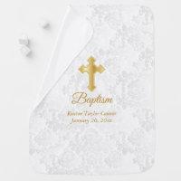 Beautiful White Damask Baptism Baby Blanket
