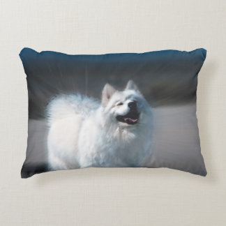Beautiful white dog on a accent pillow 16X12